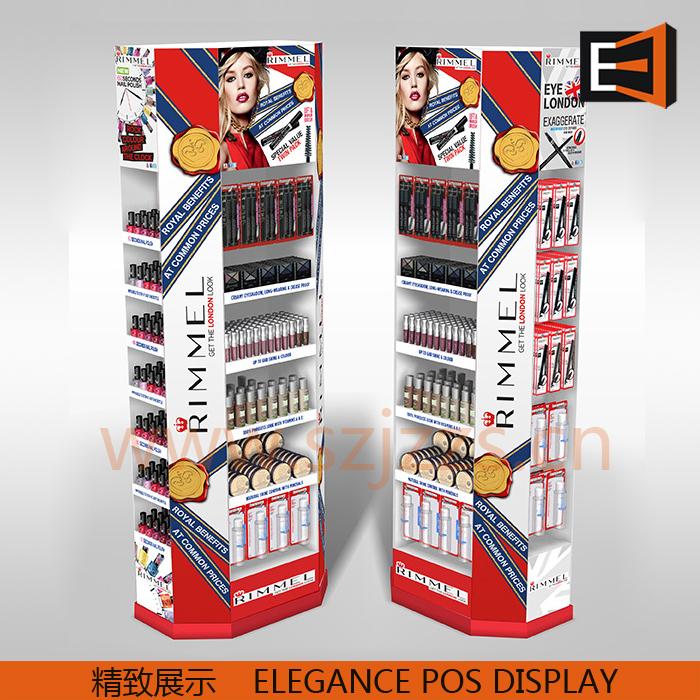 多功能落地化妆品展示柜设计定制,用于口红、眼影、眉笔、睫毛膏等展示