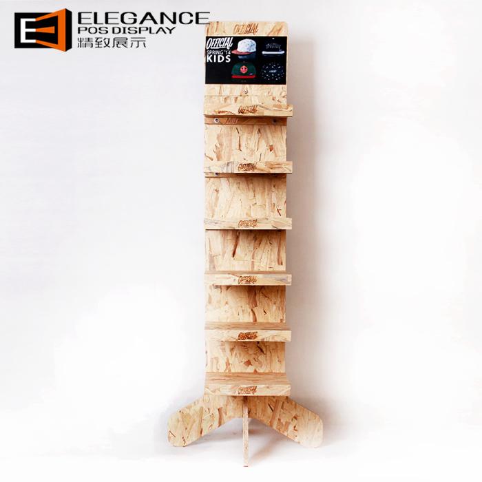 多层木制双面帽子展示架,展示架厂家定制生产
