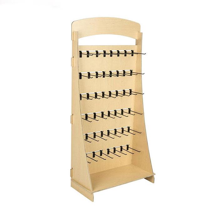 木制落地沟槽板带挂钩展示架定制生产