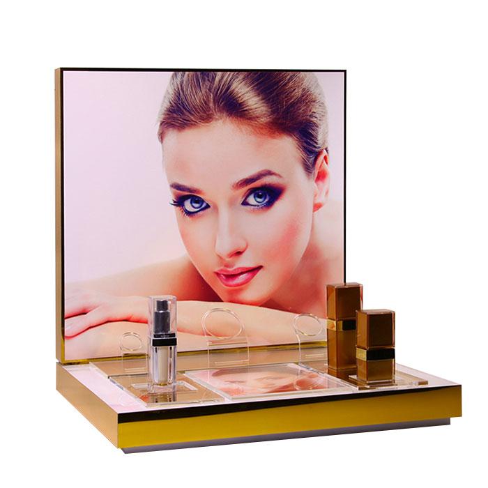 高端化妆品展示架定制,亚克力透明台面展示架