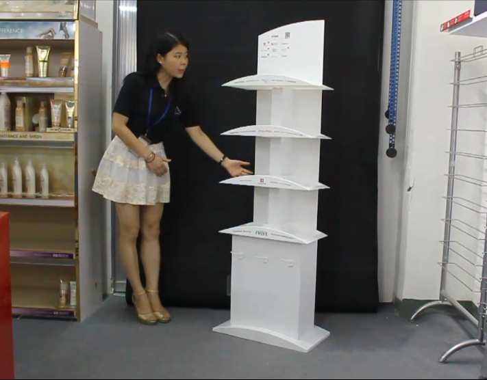 化妆品系列展示架之PVC展示架设计及生产工艺视频介绍