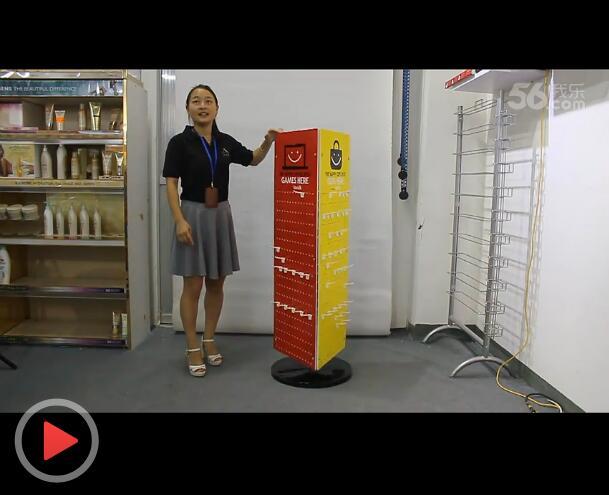PVC+铁件材料,3面旋转式挂件类商品展示架视频介绍
