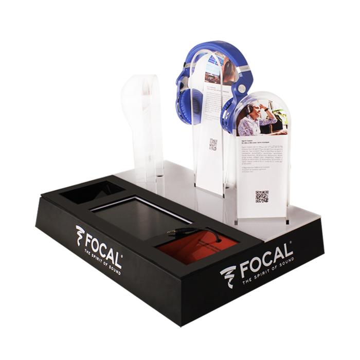 法国Focal品牌带灯箱效果亚克力耳机展示架