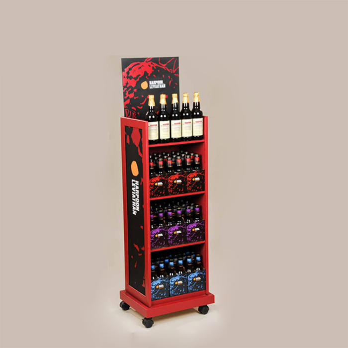 落地酒架,饮料展示架定制,多层移动展示架制作