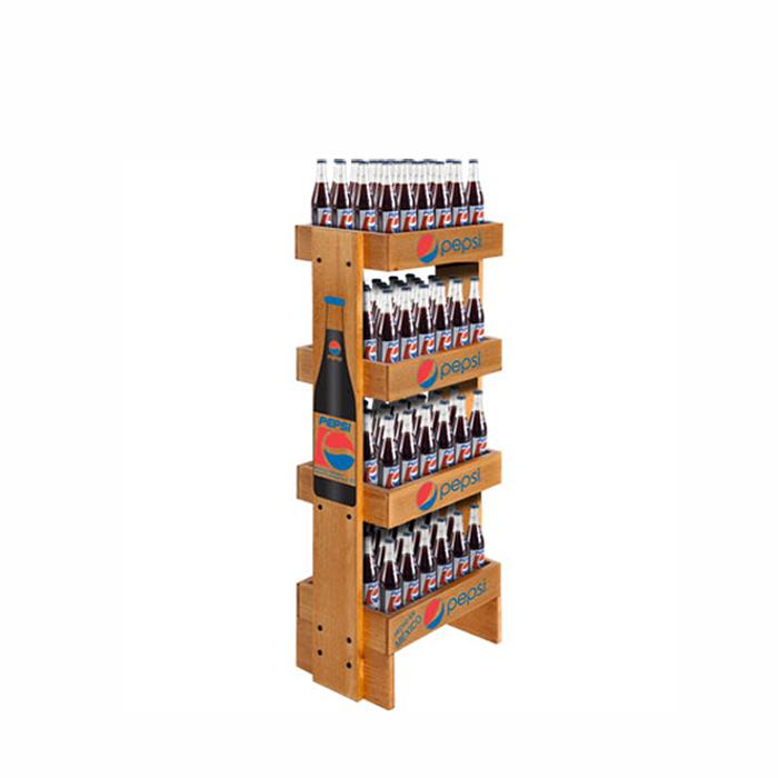 落地木质展示架 多层饮料展示架定制