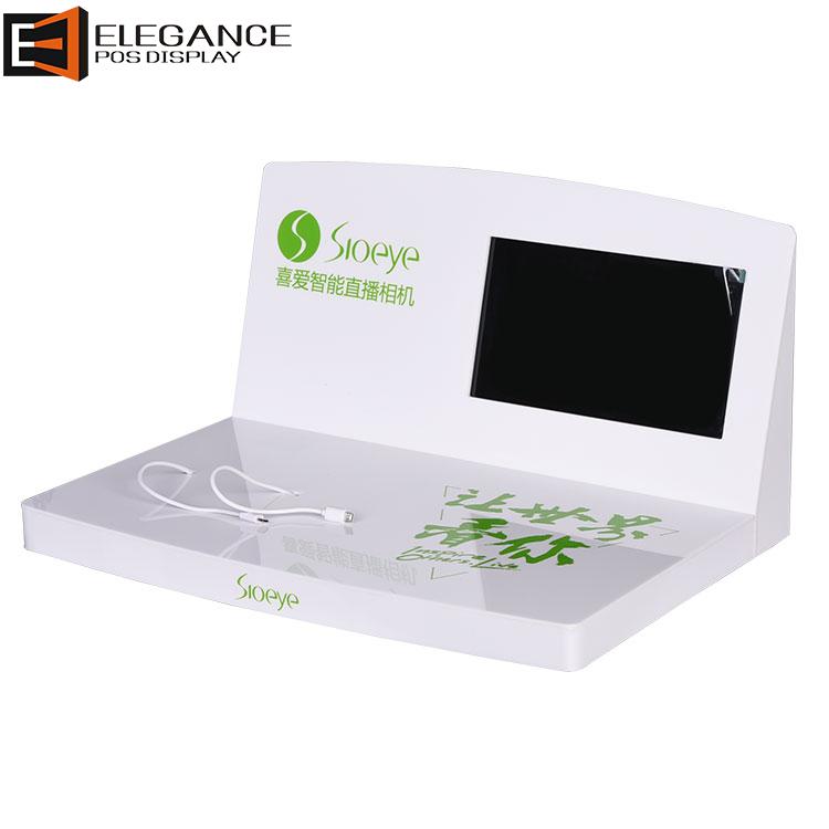 瓷白色亚克力相机桌子展示架带LCD屏幕