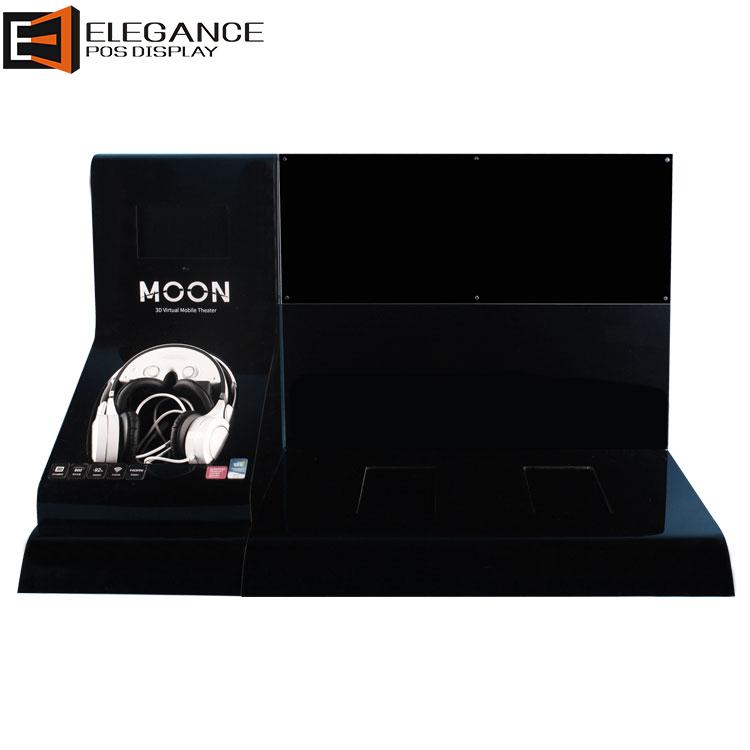 时尚柜台黑色亚克力耳机展示架,带7英寸液晶显示屏
