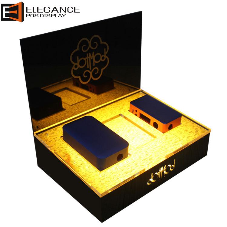 黑色亚克力电子烟盒展示架,带LED灯
