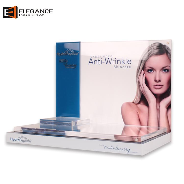定制豪华透明和白色亚克力化妆品桌面展示架,带镜子