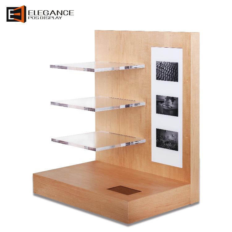 工厂定制的天然木地板和柜台展示架,用于眼镜,太阳镜和镜片