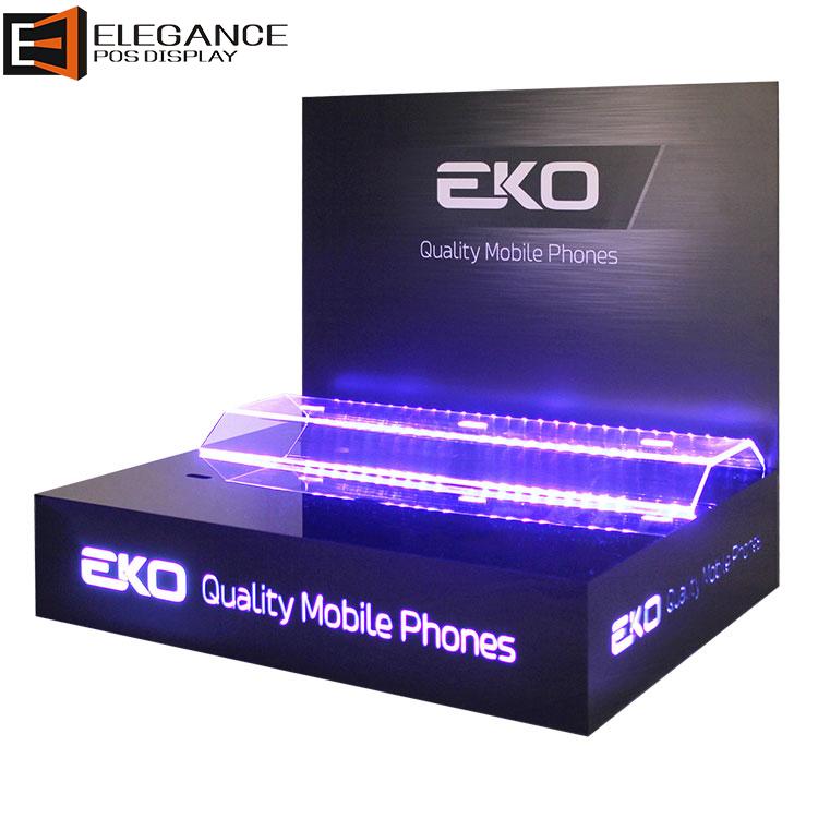 定制炫酷台面亚克力和PVC手机展示架带LED灯