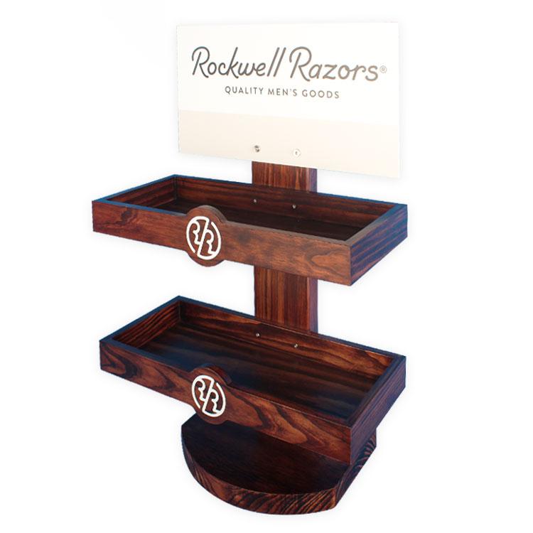 定制松木色油漆架台面男士剃刀展示架