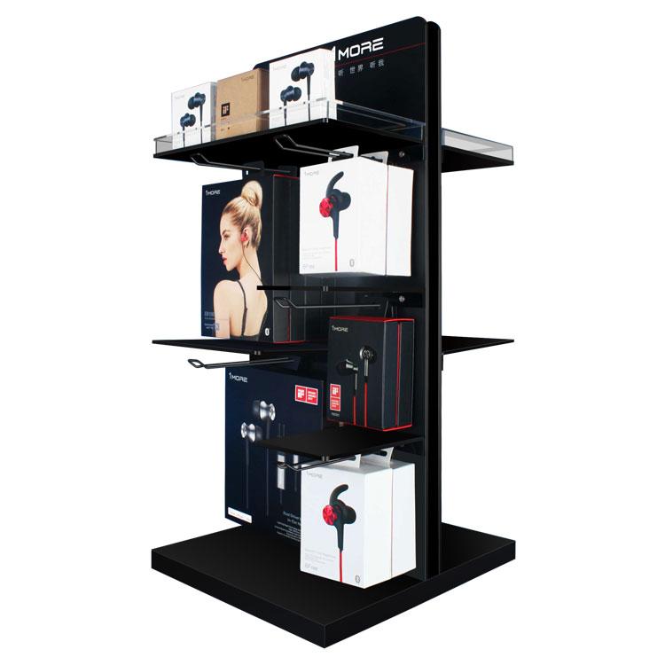 新潮柜台耳机亚克力和金属带钩的耳机展示架